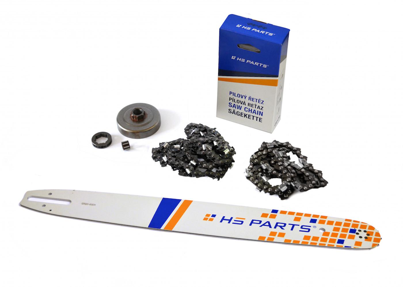 """HS PARTS Vodiaca líšta 20""""(50cm) + 2x reťaz .3/8"""" 1,6mm 72 čl. + ozubenie pre Stihl MS361"""