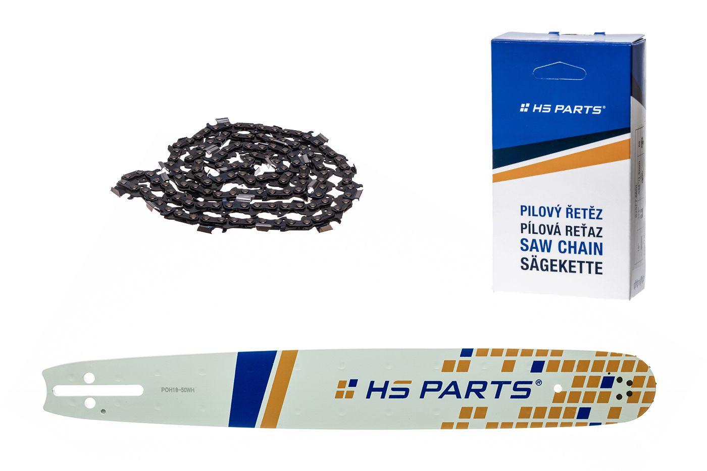 """HS PARTS Vodiaca líšta 18""""(45cm) + reťaz hranatý zub .325"""" 1,3mm 72 čl. pre Husqvarna"""