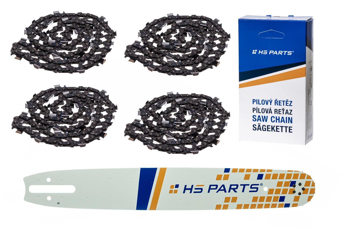 """HS PARTS Vodiaca líšta 15"""" (38cm) + 4 x reťaz hranatý zub .325"""" 1,6mm 62 článkov pre Stihl"""