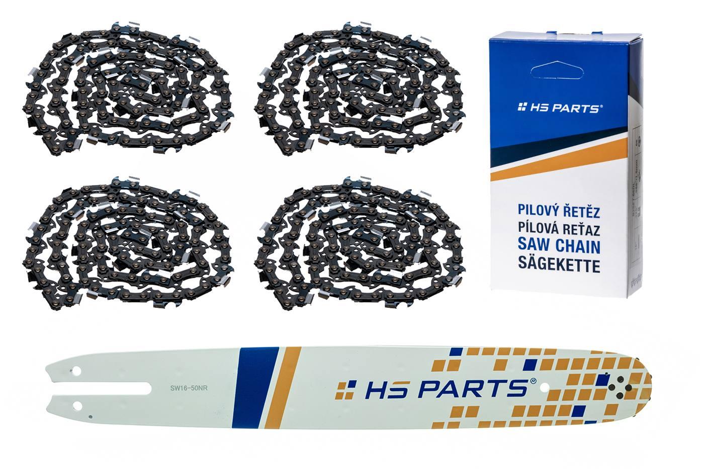 """HS PARTS Vodiaca líšta 16"""" (40cm) + 4 x reťaz .3/8"""" 1,3mm 55 článkov pre Stihl"""