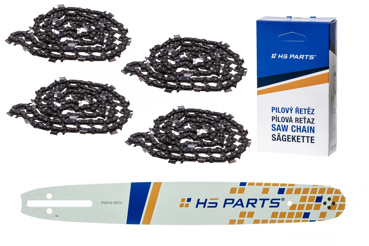 """HS PARTS Vodiaca líšta 15""""(38cm) + 4x reťaz hranatý zub .325"""" 1,3mm 64 čl. pre Husqvarna"""