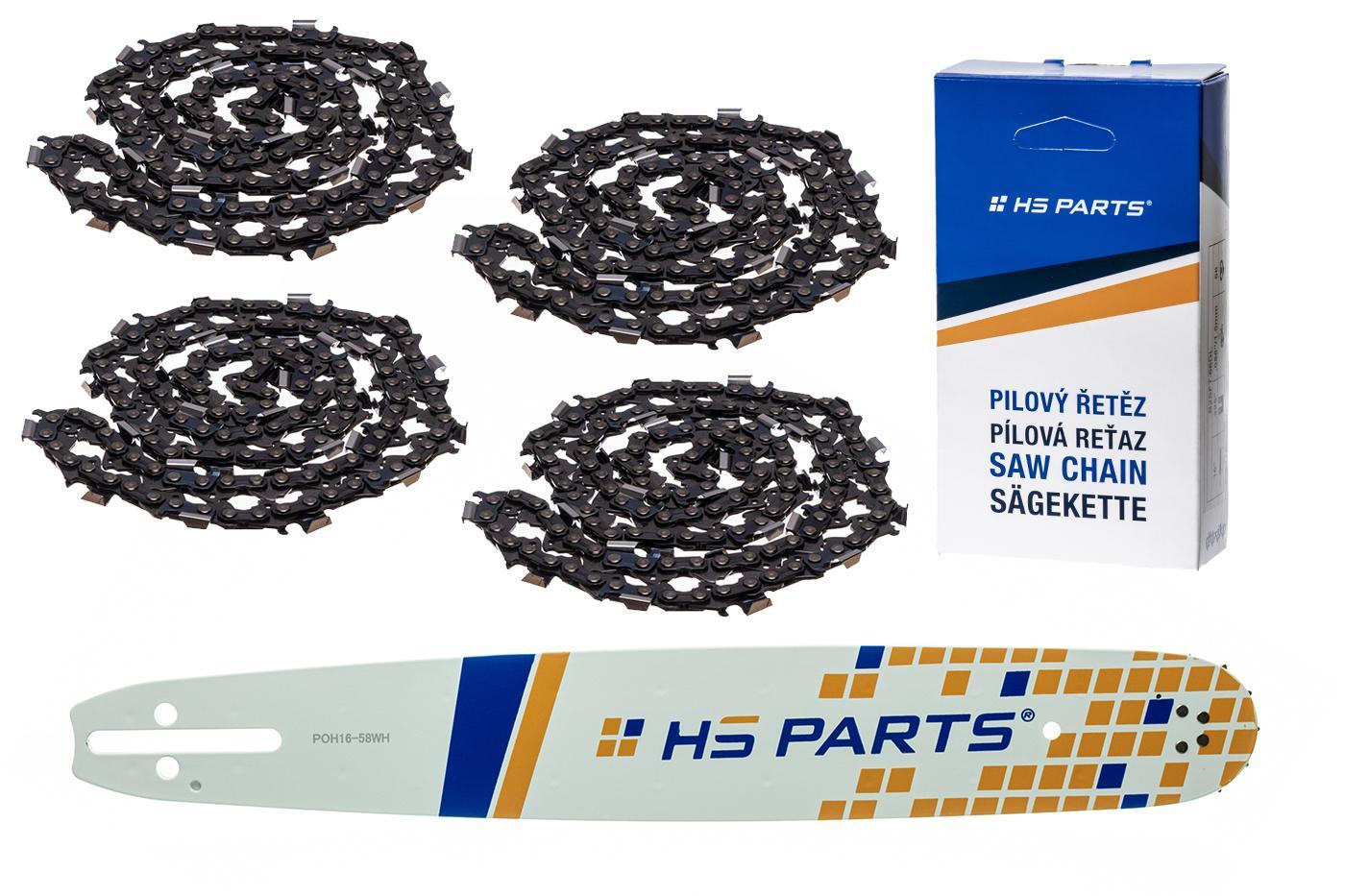 """HS PARTS Vodiaca líšta 16""""(40cm) + 4x reťaz hranatý zub .325"""" 1,5mm 66 čl. pre Husqvarna"""