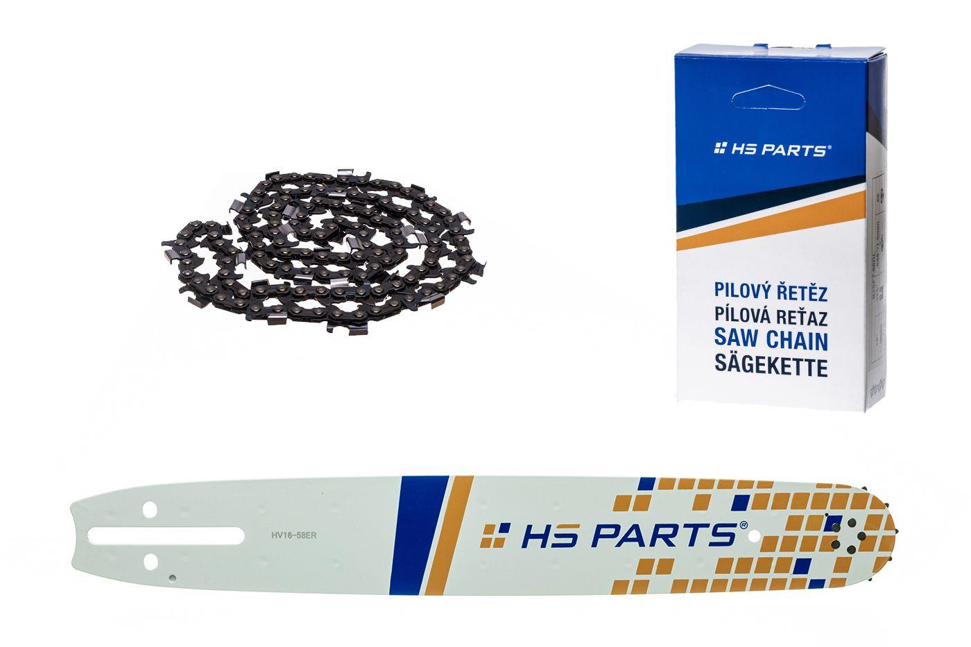 """HS PARTS Akčná súprava - vodiaca lišta 16"""" (40 cm) 3/8"""" .058"""" (1,5 mm) + Pílový reťaz na pozdĺžne rezanie"""
