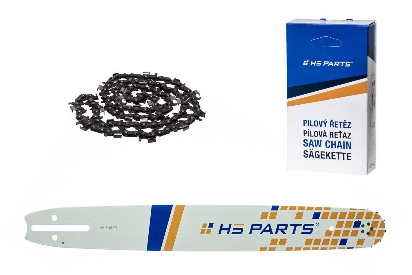 """HS PARTS Akčná súprava - vodiaca lišta 18"""" (45 cm) 3/8"""" .058"""" (1,5 mm) + Pílový reťaz na pozdĺžne rezanie"""