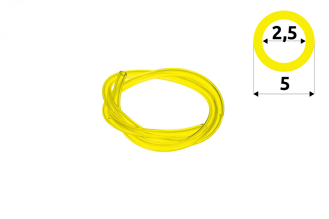 Palivová hadička 2,5 mm x 5 mm -  - 1 meter