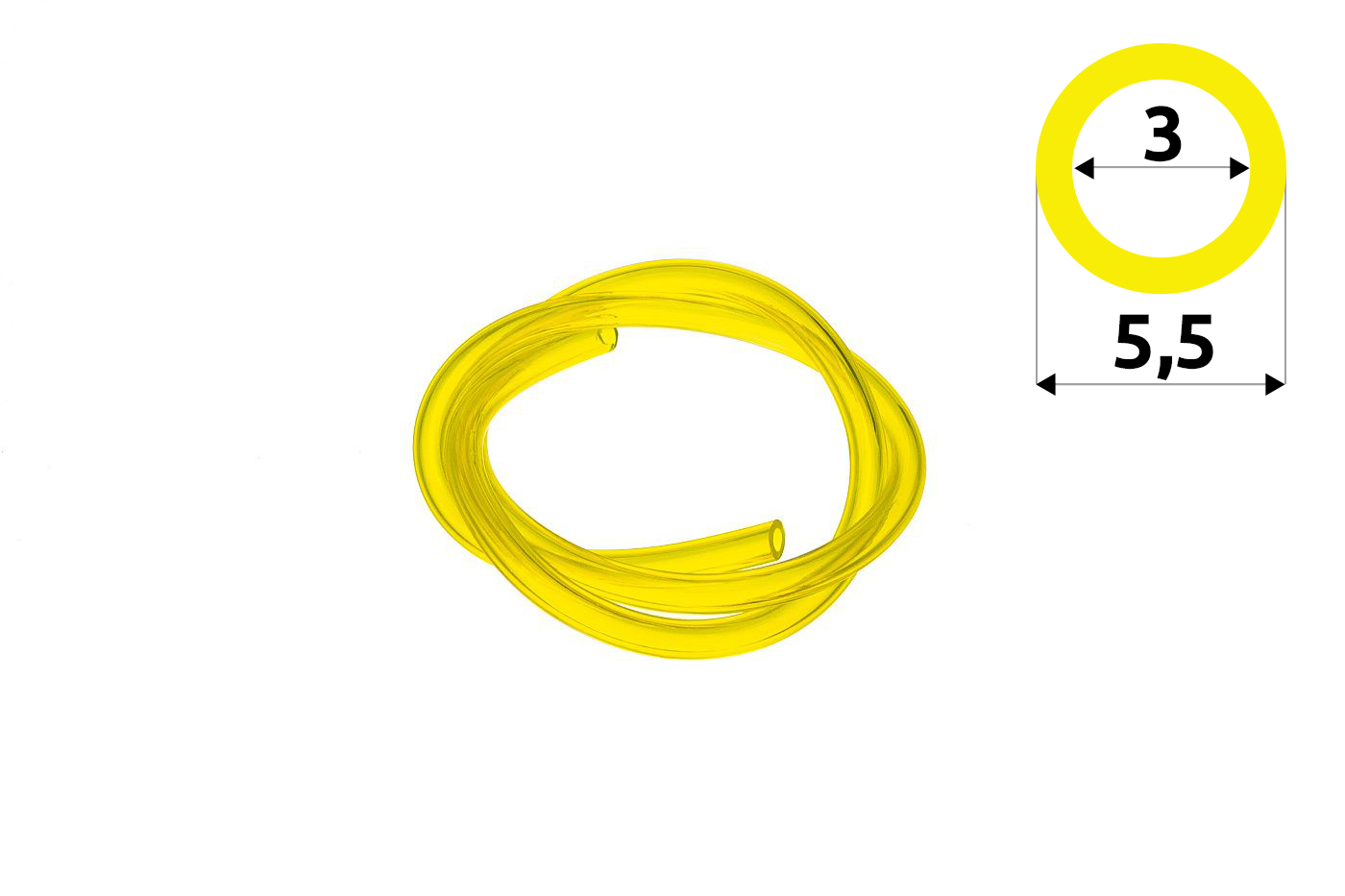 Palivová hadička 3 mm x 5,5 mm - 1 meter