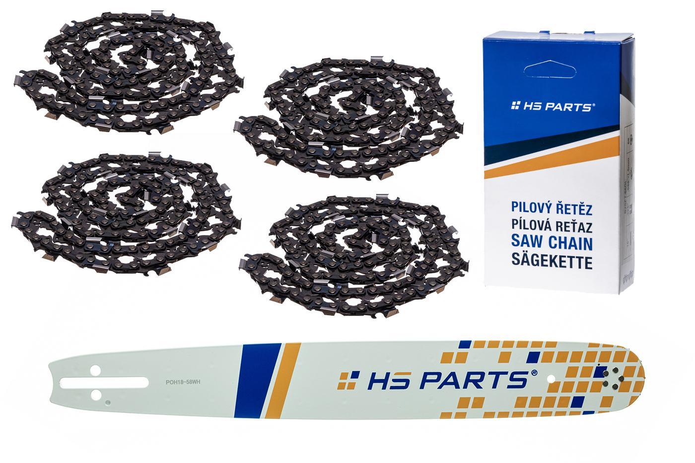 """HS PARTS Vodiaca líšta 18""""(45cm) + 4x reťaz hranatý zub .325"""" 1,5mm 72 čl. pre Husqvarna"""
