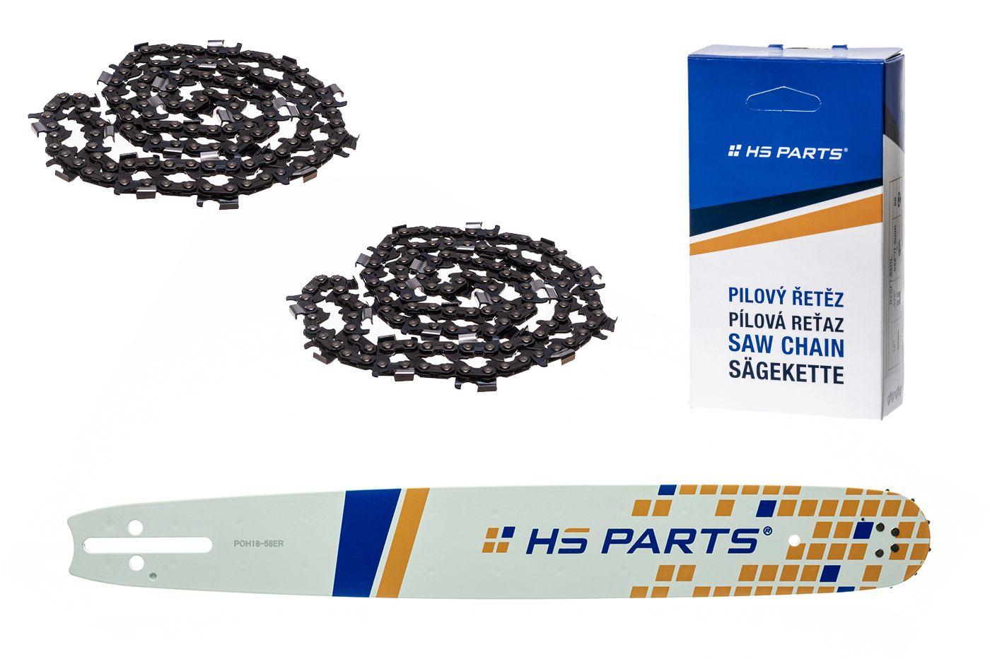 """HS PARTS Akčná súprava - vodiaca lišta 18"""" (45 cm) 3/8"""" .058"""" (1,5 mm) + 2 x pílový reťaz 68 čl."""