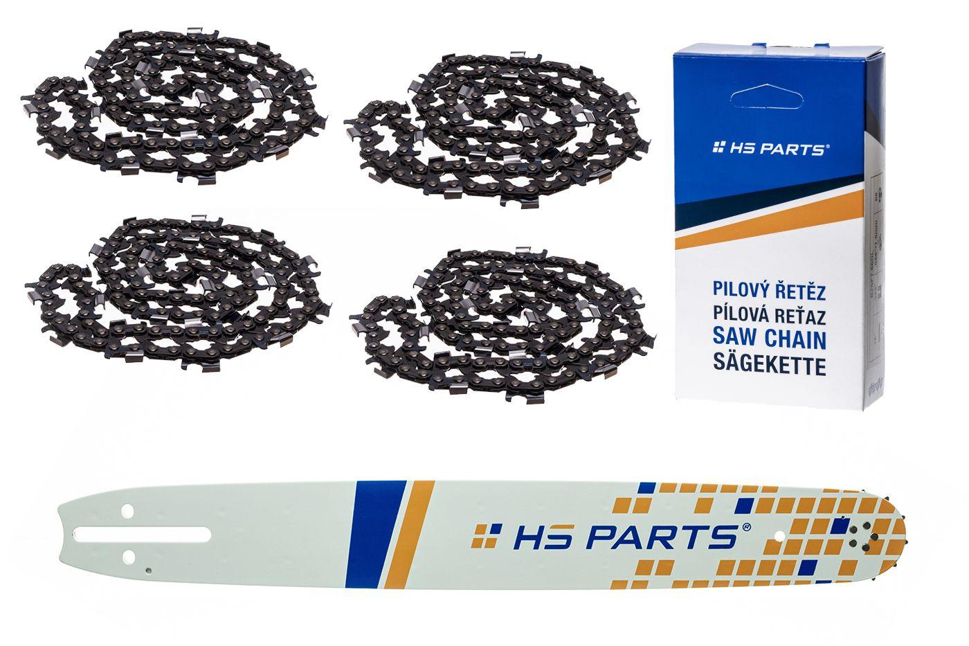 """HS PARTS Akčná súprava - vodiaca lišta 20"""" (20 cm) 3/8"""" .058"""" (1,5 mm) + 4 x pílový reťaz 72 čl."""