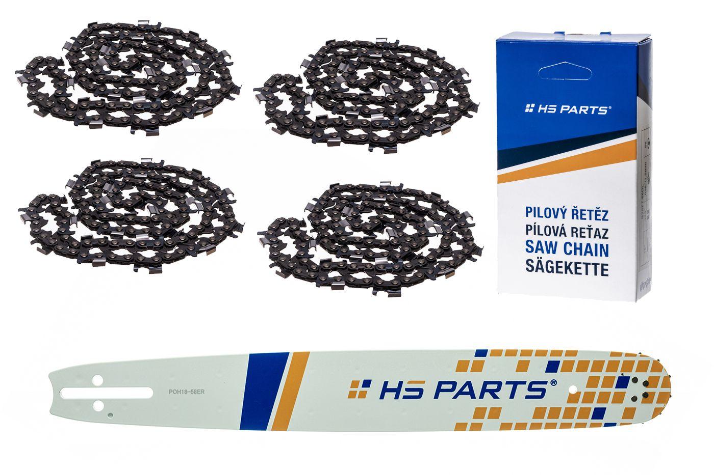 """HS PARTS Akčná súprava - vodiaca lišta 18"""" (45 cm) 3/8"""" .058"""" (1,5 mm) + 4 x pílový reťaz 64 čl."""